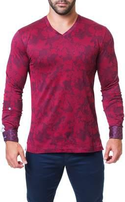Maceoo Trim Fit Jacquard V-Neck T-Shirt