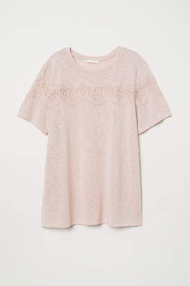 H&M T-shirt with Lace - Pink