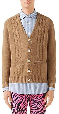 Gucci Men's Wool & Cashmere Cardigan with Mirrored GG Intarsia