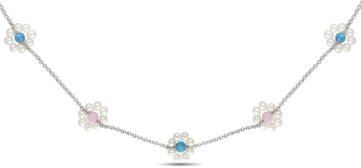 White Freshwater Pearls, Rose Quartz and Aquamarine Sterling Silver Necklace