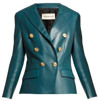 Alexandre Vauthier Double Breasted Leather Jacket - Womens - Blue