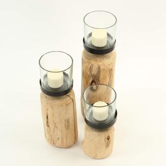 Koyal Wholesale Driftwood Candle Holders Set of 3