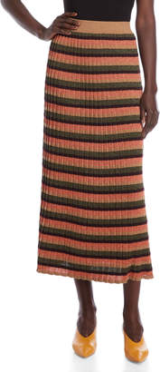 Alysi Striped Ribbed Maxi Skirt