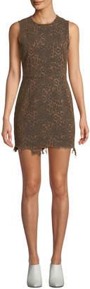 Alexander Wang Frayed Leopard-Print Sleeveless Mini Dress