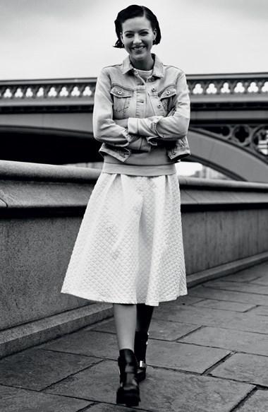 Topshop Diamond Jacquard Midi Skirt