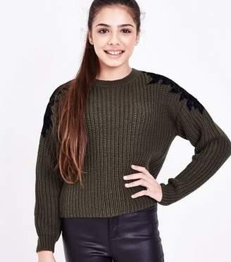 New Look Teens Khaki Floral Lace Trim Knit Jumper