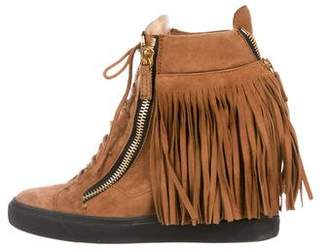 Giuseppe Zanotti Suede High-Top Wedge Sneakers w/ Tags