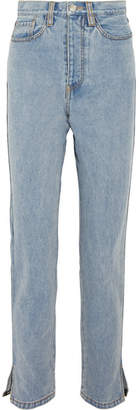 SOLACE London Printed Grosgrain-trimmed High-rise Straight-leg Jeans - Mid denim