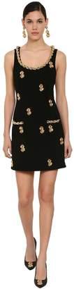 Moschino Embellished Crepe De Chine Mini Dress