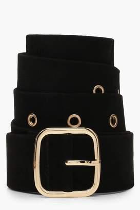 boohoo Suedette Square Buckle Belt