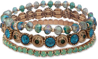 lonna & lilly Gold-Tone 3-Pc. Set Crystal & Bead Stretch Bracelets