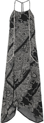 Vix Akash Cleo Asymmetric Printed Linen-Blend Midi Dress $258 thestylecure.com
