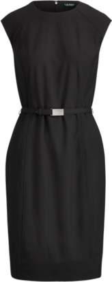 Ralph Lauren Belted Cap-Sleeve Dress