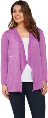 Joan Rivers Classics Collection Joan Rivers Drape Front Cardigan with Crochet Lace Back