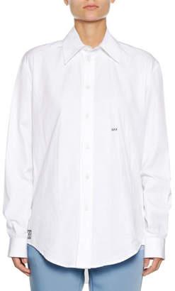 Off-White Button-Down Long-Sleeve Cotton Poplin Shirt