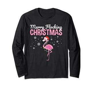 Merry Flocking Christmas Tropical Florida Flamingo Christmas Long Sleeve T-Shirt
