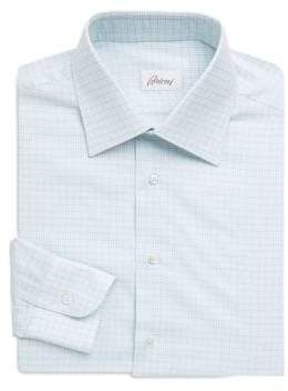 Brioni Broken Windowpane Plaid Dress Shirt