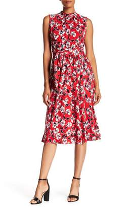 Leota Isabella Printed Mock Neck Midi Dress