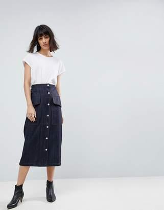 Asos Co-ord Utility Denim Midi Skirt
