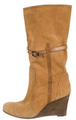 Barbara Bui Suede Mid-Calf Wedge Boots Suede Mid-Calf Wedge Boots