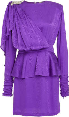 DoDo Bar Or Gace Peplum Embellished Jacquard Mini Dress