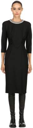 Antonio Marras Embellished Collar Stretch Wool Dress