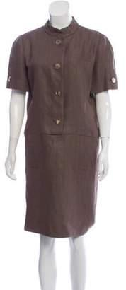 Bill Blass Linen Knee-Length Dress gold Linen Knee-Length Dress