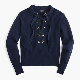 J.Crew Lace-up sweater in everyday cashmere