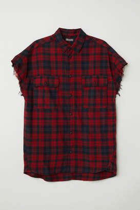 H&M Short-sleeved Flannel Shirt - Red