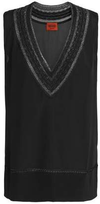 Missoni Crochet-Trimmed Silk-Blend Top