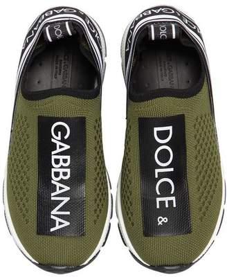 Dolce & Gabbana Logo Print Knit Sneakers