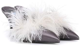 Prada Exclusive to mytheresa.com – feather-trimmed satin mules