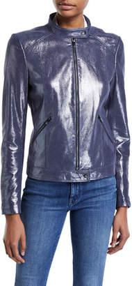 Neiman Marcus Leather Collection Center-Zip Iridescent Suede Jacket