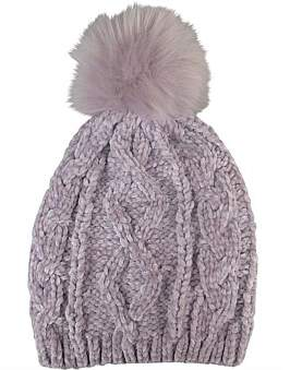 Morgan & Taylor Lilac Chenille Knit Beanie With Fur Pompom