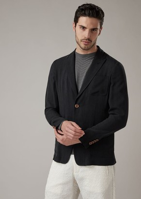 Giorgio Armani Slim-Fit Deconstructed Jacket In Washed Cupro Natte