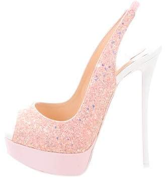 Christian Louboutin Sequin Peep-Toe Pumps