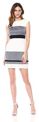 Sandra Darren Women's 1PC Extended Shoulder Color Block Sheath Career Dress