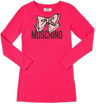Moschino Bow Printed Cotton Jersey T-Shirt Dress