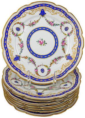 One Kings Lane Vintage Antique Floral Porcelain Plates - Set of 8 - Acquisitions Gallerie