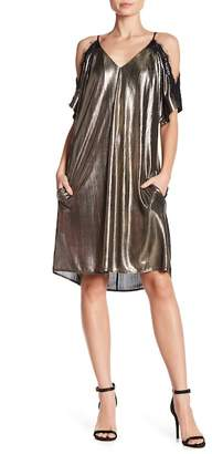 Rachel Roy Cold Shoulder Metallic Shift Dress