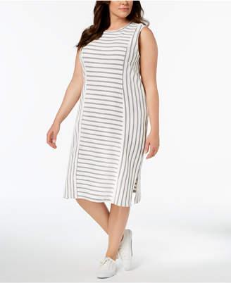 525 America Plus Size Textured-Stripe Midi Dress, Created for Macy's