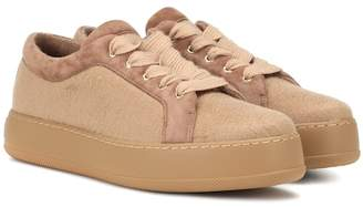 Max Mara Suede-trimmed cashmere sneakers eJ0toew7r0