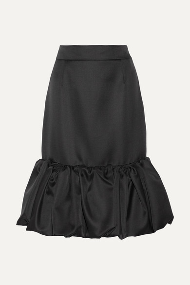 Prada - Wool And Silk-blend Duchesse-satin Skirt - Black
