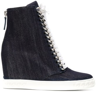 Casadei denim wedge sneakers