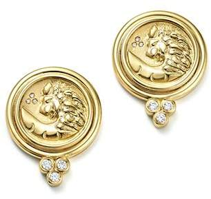 Temple St. Clair 18K Yellow Gold Lion Coin Diamond Earrings