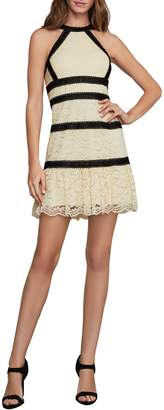 BCBGMAXAZRIA Banded Lace Halter Fit--Flare Dress