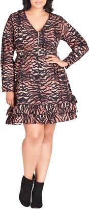 City Chic Tigress Print Dress