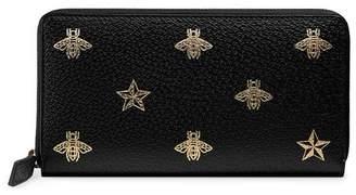 Gucci Bee Star leather zip around wallet