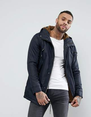 Pull&Bear Fleece Lined Parka Jacket In Navy