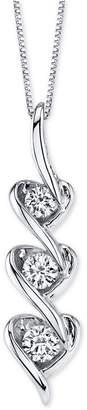 """Macy's Diamond Triple Heart Drop 18"""" Pendant Necklace (3/8 ct. t.w.) in 14k White Gold"""